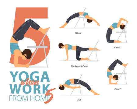 5 Yoga poses or asana posture for workout in working at home concept. Women exercising for body stretching with yoga chair. Fitness infographic. Flat cartoon vector 矢量图像