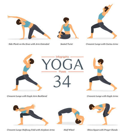 Set of 8 yoga poses or asana posture in flat design. Beauty woman in blue sportswear and black yoga pants is doing exercise at home for body stretching. Yoga infographics. Vector illustration.