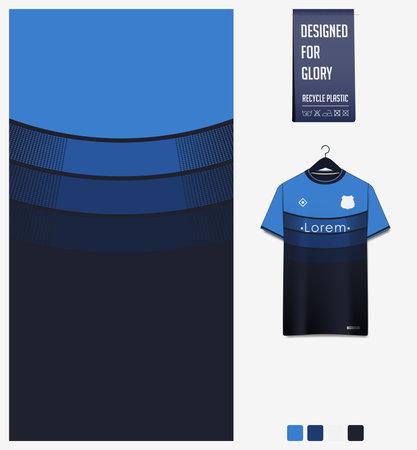 Soccer jersey pattern design. Geometric pattern on blue abstract background for soccer kit, football kit or sports uniform. T-shirt mockup template. Fabric pattern. Sport background.