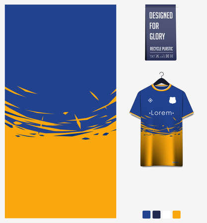 Soccer jersey pattern design.  Abstract pattern on yellow blue background for soccer kit, football kit or sports uniform. T-shirt mockup template. Fabric pattern. Sport background.