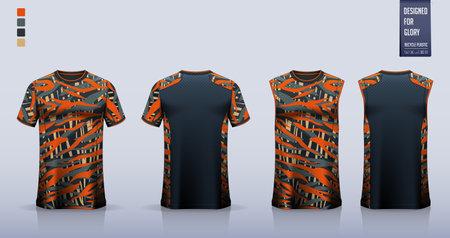 T-shirt sport, Soccer jersey, football kit, basketball uniform, tank top, and running singlet mockup. Fabric pattern design. Vector. 矢量图像