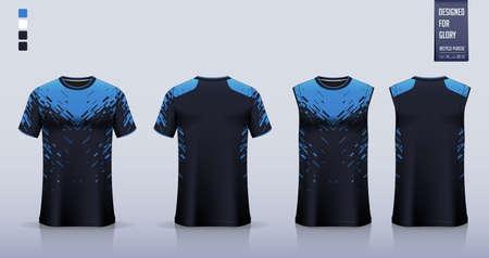 Blue T-shirt sport, Soccer jersey, football kit, basketball uniform, tank top, and running singlet mockup. Fabric pattern design. Vector.