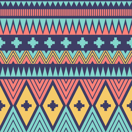 Geometric ethnic oriental ikat or tribal ethnic seamless pattern. Fabric design for tribal embroidery. Indian, Scandinavian, Gypsy, Mexican motif, Native American, Navajo, folk pattern. Vector Pattern