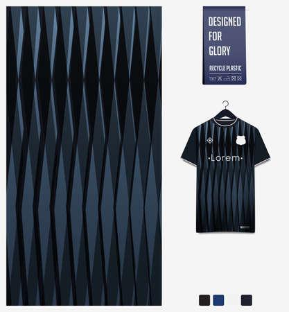 Soccer jersey pattern design. Geometric pattern on black abstract background for soccer kit, football kit or sports uniform. T-shirt mockup template. Fabric pattern. Sport background. 矢量图像