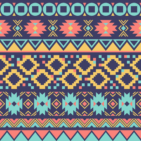 Geometric ethnic oriental ikat or tribal seamless pattern. Fabric pattern design for tribal embroidery. Indian, Scandinavian, Gypsy, Mexican, Asian, Native American, Navajo. Texture Vector. 矢量图像