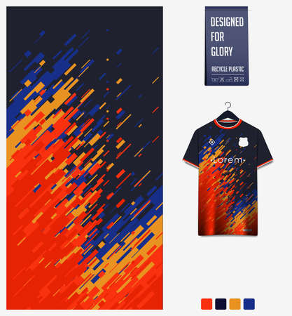 Soccer jersey pattern design.  Abstract pattern on colorful background for soccer kit, football kit or sports uniform. T-shirt mockup template. Fabric pattern. Sport background. Ilustração