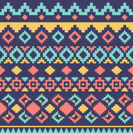 Geometric ethnic oriental ikat or tribal seamless pattern. Fabric pattern design for tribal embroidery. Indian, Scandinavian, Gypsy, Mexican, Asian, Native American, Navajo. Texture Vector. Ilustração