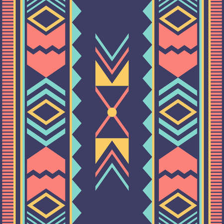 Geometric ethnic oriental ikat or tribal seamless pattern. Fabric pattern design for tribal embroidery. Indian, Scandinavian, Gypsy, Mexican, Asian, Native American, Navajo.Texture Vector illustration