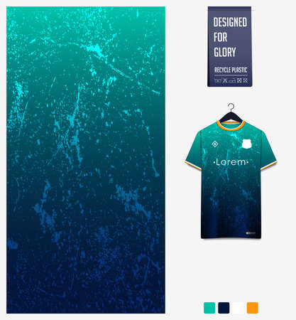 Soccer jersey pattern design.  Abstract pattern on green background for soccer kit, football kit or sports uniform. T-shirt mockup template. Fabric pattern. Abstract background.