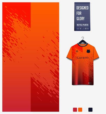 Soccer jersey pattern design.  Abstract pattern on orange background for soccer kit, football kit or sports uniform. T-shirt mockup template. Fabric pattern. Abstract background.