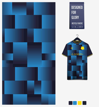 Soccer jersey pattern design. Geometric pattern on blue background for soccer kit, football kit or sports uniform. T-shirt mockup template. Fabric pattern. Abstract background.
