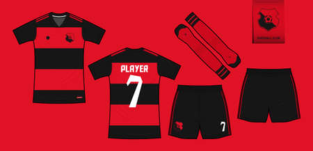 Soccer jersey or football kit mockup template design for sport club. Football t-shirt sport, shorts, sock mock up. Soccer uniform in front view, back view. Soccer  in flat design. Vector.