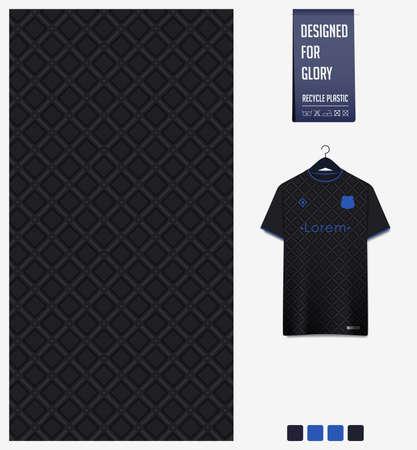 Soccer jersey pattern design. Geometric pattern on black background for soccer kit, football kit or sports uniform. T-shirt mockup template. Fabric pattern. Abstract background. Ilustração