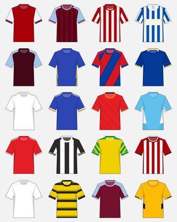 Set of soccer jersey or football kit template for English football club. 2021 -2022 Football shirt mockup. Soccer jersey front view in flat design. Vector Illustration Ilustração