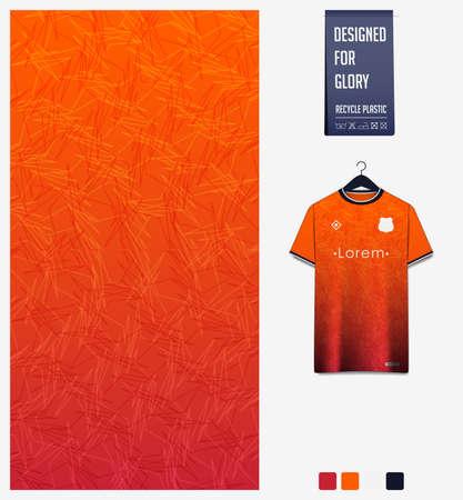 Soccer jersey pattern design. Abstract pattern on orange background for soccer kit, football kit, bicycle, e-sport, basketball, t-shirt mockup template. Fabric pattern. Abstract background. Vector.