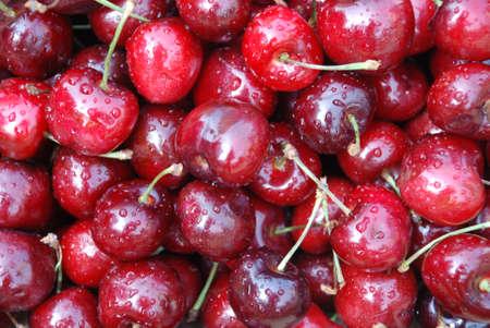 luscious: The ripe luscious dark red cherries Stock Photo