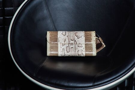 billfold: compact modern leather female clutch with print Stock Photo