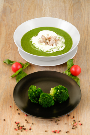? plate of tasty hot soup with broccoli Stock fotó