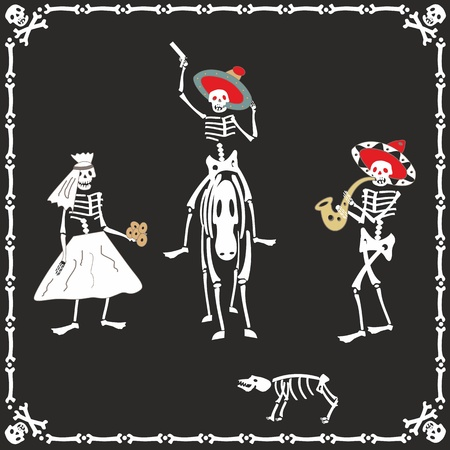 Amusing dancing skeletons on wedding Illustration