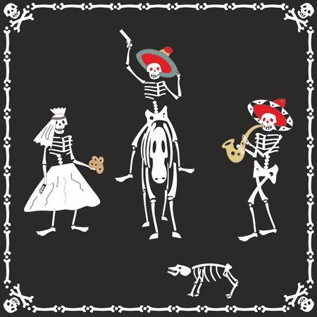 Amusing dancing skeletons on wedding Illustration