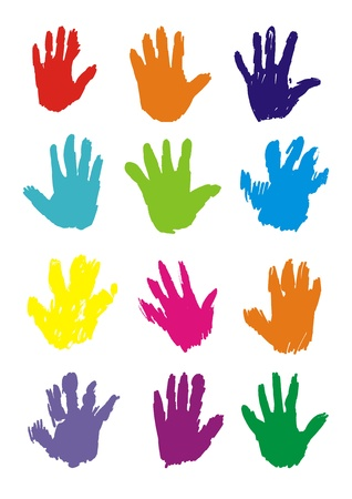 children school clip art: Hand Prints, vector.  Illustration