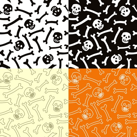 Skeletons seamless vector pattern. Perfectly tile-able both horizontally and vertically; scalable and editable vector illustration;
