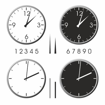 office clock: Oficina del reloj Vectores