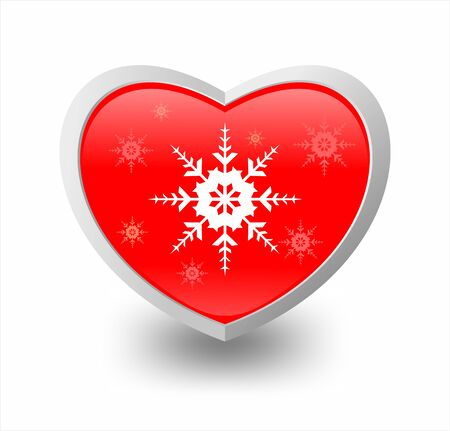 Illustration of heart and snowflake