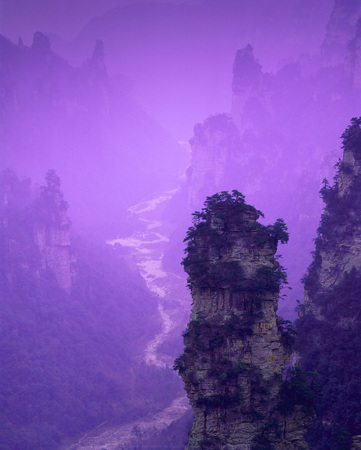 gentle dream vacation: A Vertical Ethereal Purple Chinese Mountain Landscape