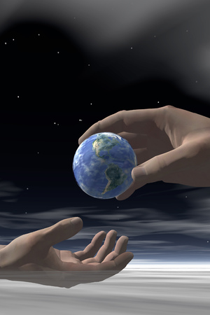 shared sharing: Hands Passing Earth