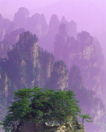gentle dream vacation: A Vertical Ethereal Photo Of Purple Chinese Mountains
