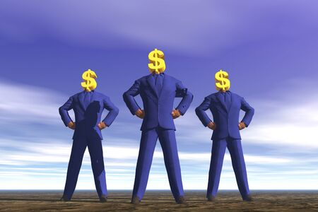 Businessmen With Dollar Signs For Heads