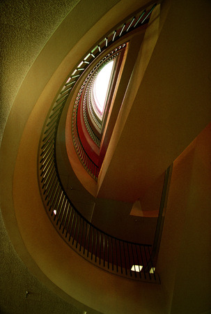 Detail Of A Modern Yellow Spiral Staircase