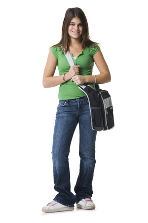 Portrait Of A Teenage Girl Holding A Bag And Smiling