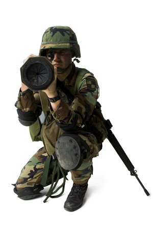 Soldier Aiming A Grenade Launcher