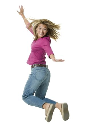 Portrait Of A Mid Adult Woman Jumping In Mid-Air LANG_EVOIMAGES