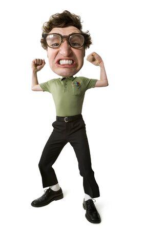puños cerrados: Caricatura - retrato de un hombre joven posando