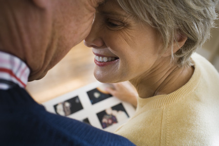 substructure: Close-Up Of An Elderly Couple Smiling And Touching Heads