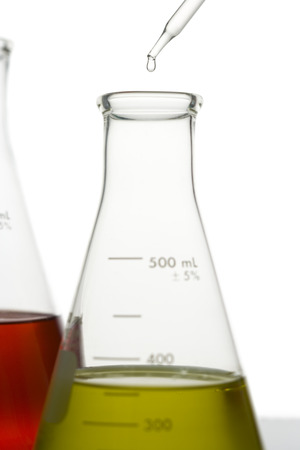 Liquid Being Dropped Into A Conical Flask With A Pipette