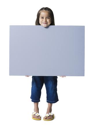 flip flops: Portrait Of A Girl Holding A Blank Sign