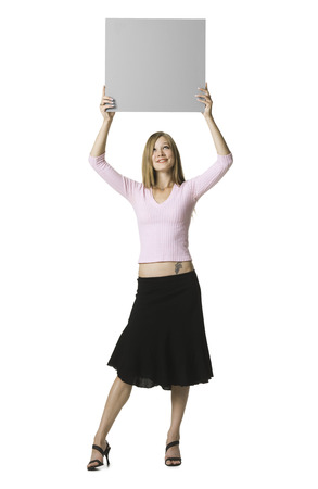 Young Woman Holding A Blank Sign
