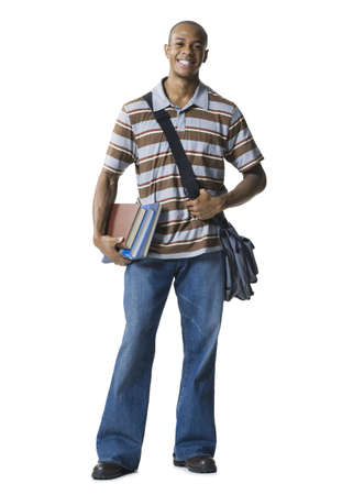Student Portrait With Books And Messenger Bag
