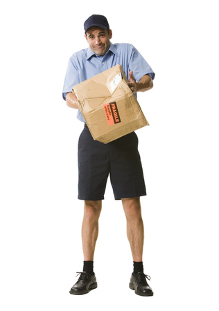 Portrait Of A Mailman Holding A Damaged Package