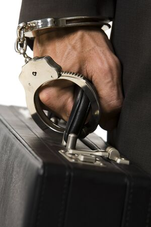 restraints: Businessman Handcuffed To A Briefcase