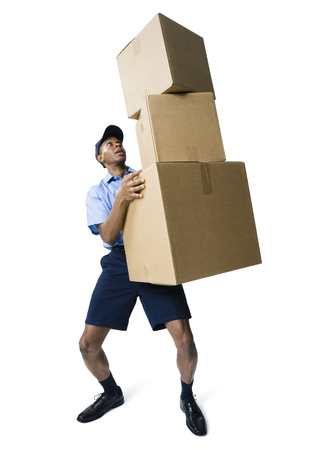 Delivery Man Holding A Stack Of Boxes