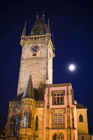 Low Angle View Of A Clock Tower At Night