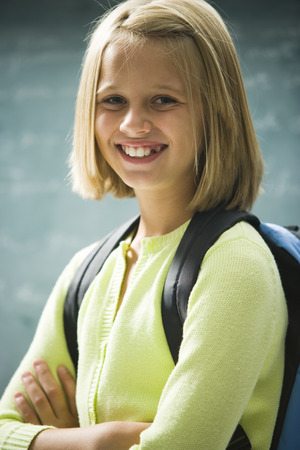A Young Girl Happy At School