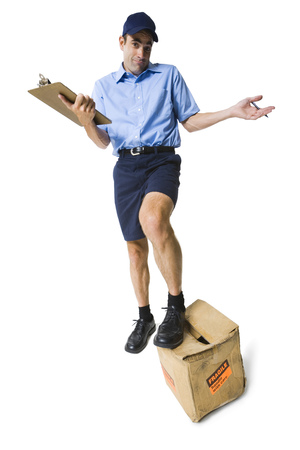 Portrait Of A Mailman With A Clipboard And A Package LANG_EVOIMAGES
