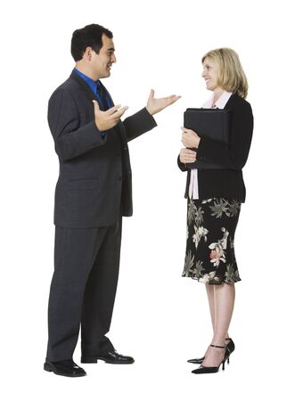 Businessman And A Businesswoman Talking