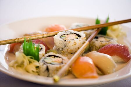 Close-Up Of Sushi Rolls On A Plate